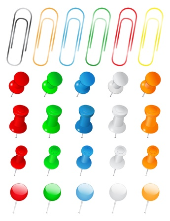 Set of Push Pins and Paper Clips Vector