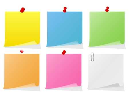 Set of colorful post-it notes with push pins Vector