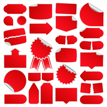Set of Red Price Tags  Stock Vector - 9304396