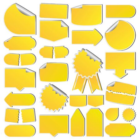 paper tags: Set of Yellow Price Tags Illustration