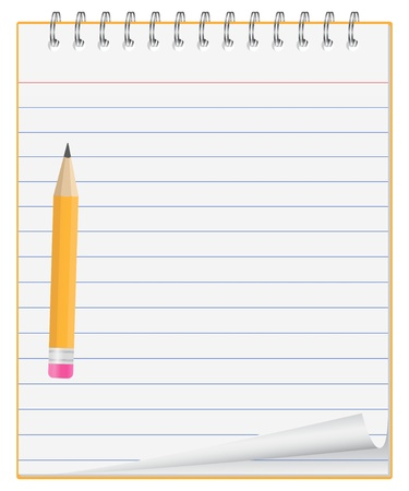 Vektor-Notizbuch mit kleinen Stift