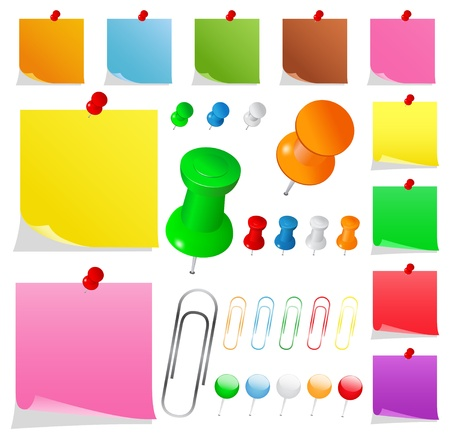 bulletinboard: Colorful Paper Notes with Pushpins and Clips Illustration