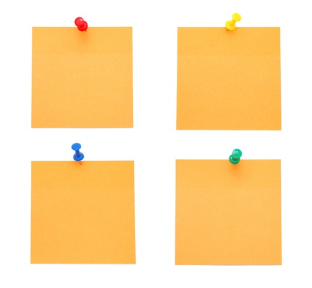 push pins: Orange Post-it Notes with Push Pins Stock Photo