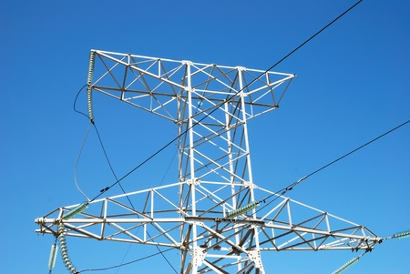 high powered: Power line on the sky background