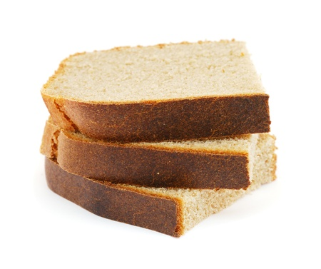 Three slices of rye bread isolated on white background photo