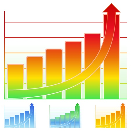 Colorful bar graph with rising arrow Vector