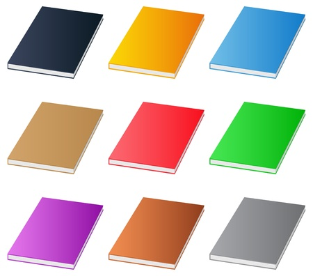 Set of  books on white background Vector