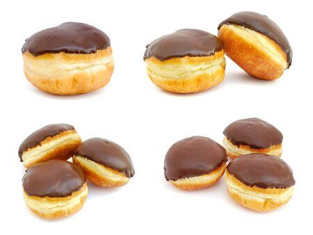 Chocolate doughnuts isolated on white background photo