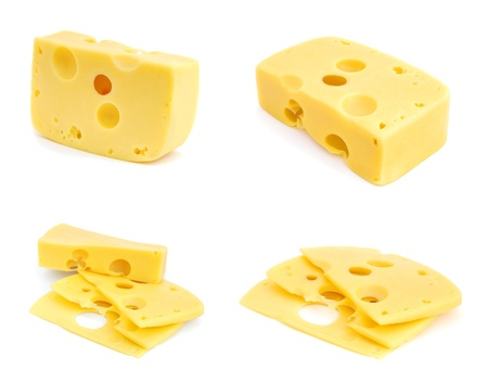 Set of images with cheese isolated on white background photo
