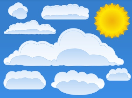sun and clouds Vector