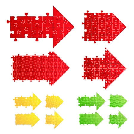 piece of paper: Set of arrows from puzzle pieces Illustration