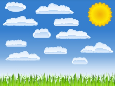 green grass, sun and clouds Stock Vector - 9812889