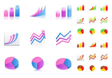 business graphs icons Stock Vector - 9812903