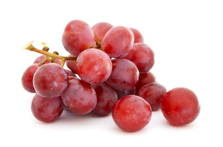 grape harvest: Red grapes isolated on white background Stock Photo