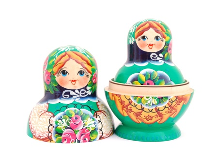 Russian dolls isolated on white background photo