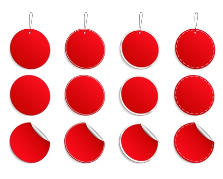 shopping cart button:  red round stickers Illustration