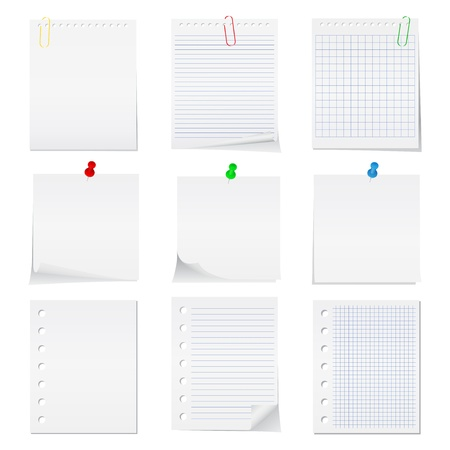 push pins: paper notes with push pins and clips