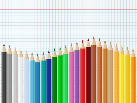 Background with colored pencils on squared paper Vector