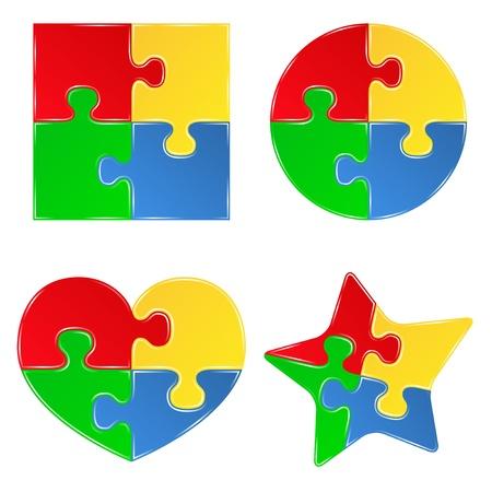 plastic heart: forme di pezzi di jigsaw puzzle
