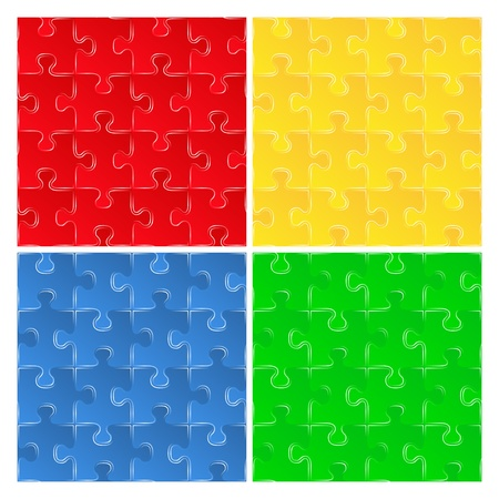 Set of seamless puzzle backgrounds Vector