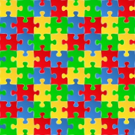 red puzzle piece: colorful seamless puzzle background Illustration