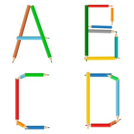 Alfabeto de lápices de colores, letras a, b, c, d