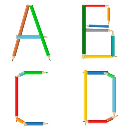text tool: Alphabet made of colored pencils, letters a, b, c, d Illustration