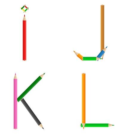 Alphabet made of colored pencils Vector