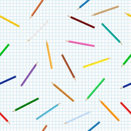 Seamless background with colored pencils Vector