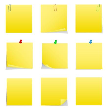 Żółty post-it z Pins przekazywanych i klipsy Ilustracje wektorowe
