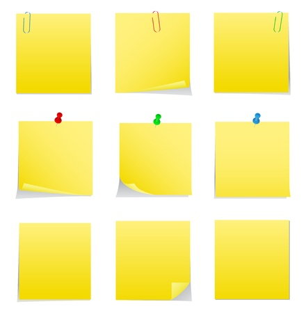 Gele Post-it Notes met Push Pins en Clips Vector Illustratie