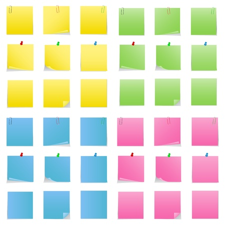 postit note: Post-it Notes with Push Pins and Clips Illustration