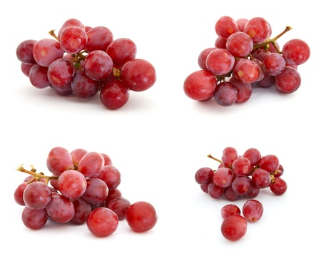 bunch up: Red grapes isolated on white background Stock Photo
