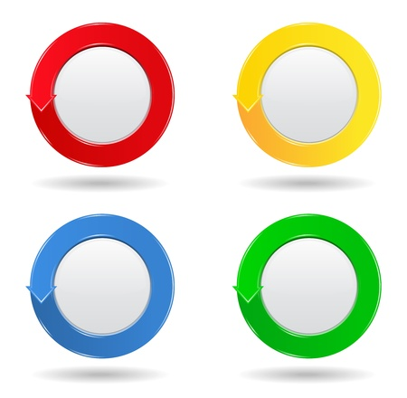 Set of four colorful round buttons with arrow Vector