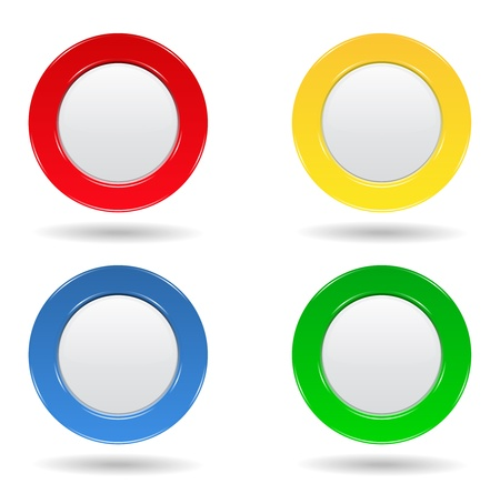 Set of four colorful round buttons Vector