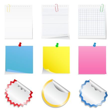 adhesive: Notas vector de papel y pegatinas