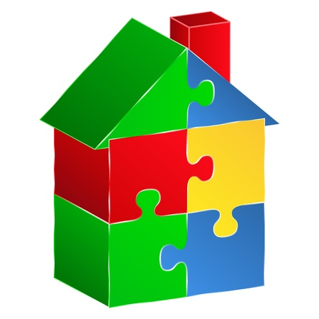 House made of puzzle pieces Vector