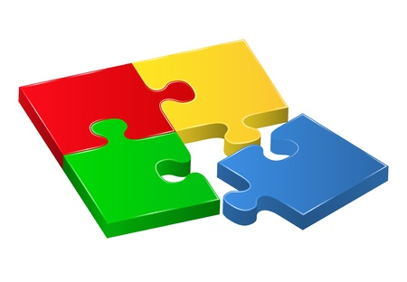 group solution: Vector puzzle pieces Illustration