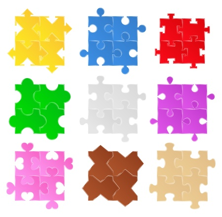 puzzle cuore: Puzzle Patterns Vettoriali