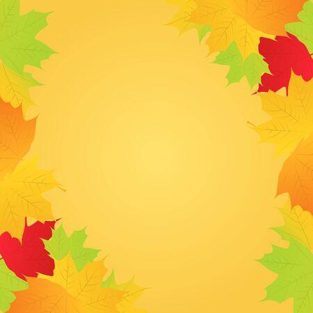 Vector Autumn Maple Leaves Frame Vector