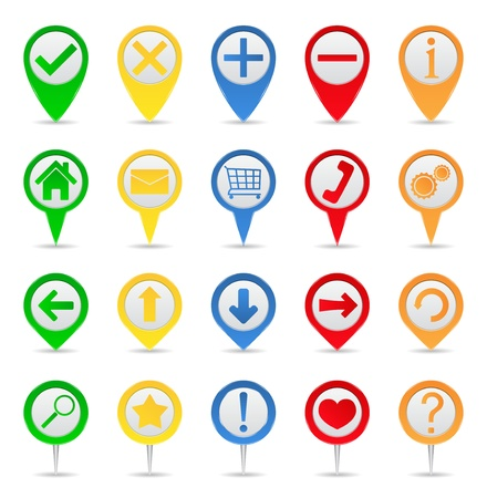 thumbtack: Map markers with icons Illustration