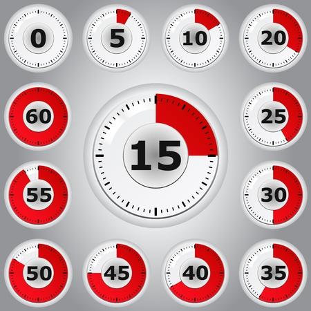 chronom�tre: Minuteries vecteur rouge