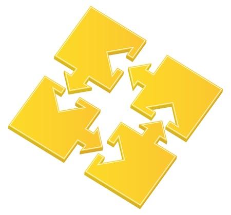 piezas de rompecabezas: Vector amarillo piezas con flechas