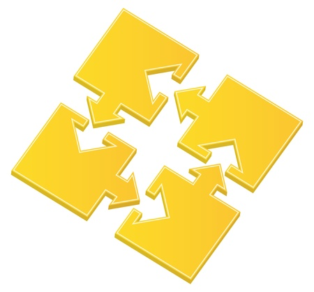 jigsaw pieces: Vector yellow puzzle pieces with arrows
