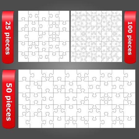 Vector jigsaw puzzles with 25, 50 and 100 pieces Vector