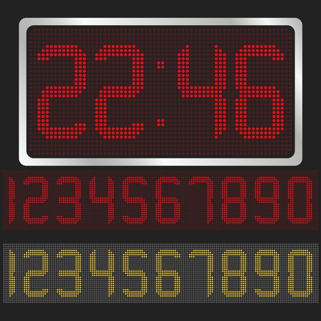 digital clock: digital clock with red and yellow digits Illustration