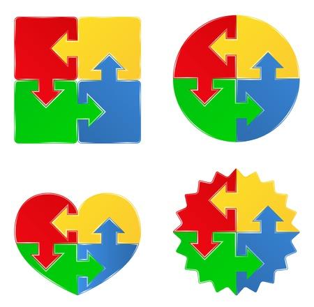 puzzle piece: formas de rompecabezas con las flechas
