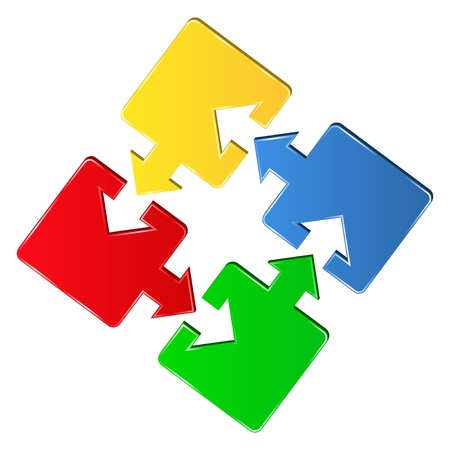 links:  puzzle pieces with arrows Illustration