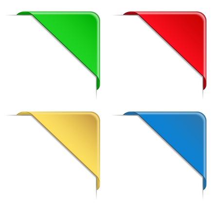 Rubans de coin coloré Vecteurs