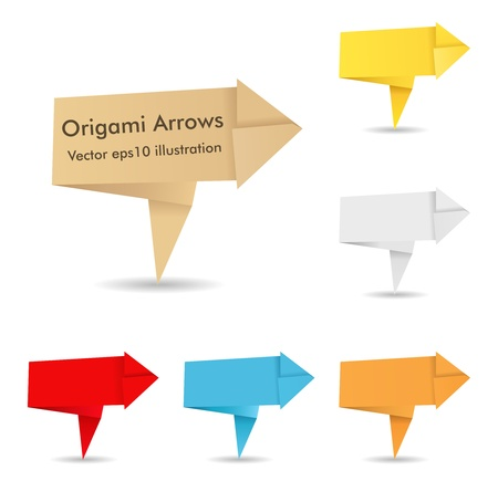 Set of origami arrows photo